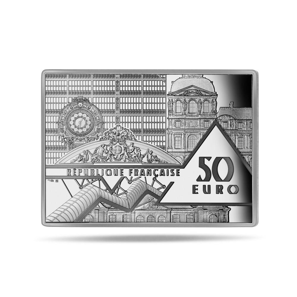 (EUR07.Proof.2021.10041356340000) 50 euro France 2021 Proof Ag - Persistence of Memory Dali Obverse (zoom)