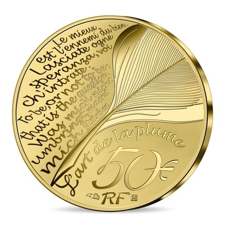 (EUR07.Proof.2021.10041356650000) 50 euro France 2021 or BE - Dante Alighieri Revers