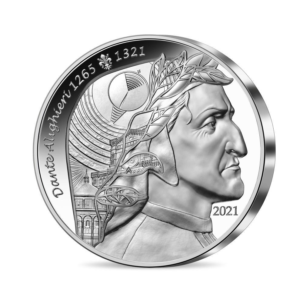 (EUR07.Proof.2021.10041356660000) 20 euro France 2021 Proof silver - Dante Alighieri Obverse (zoom)