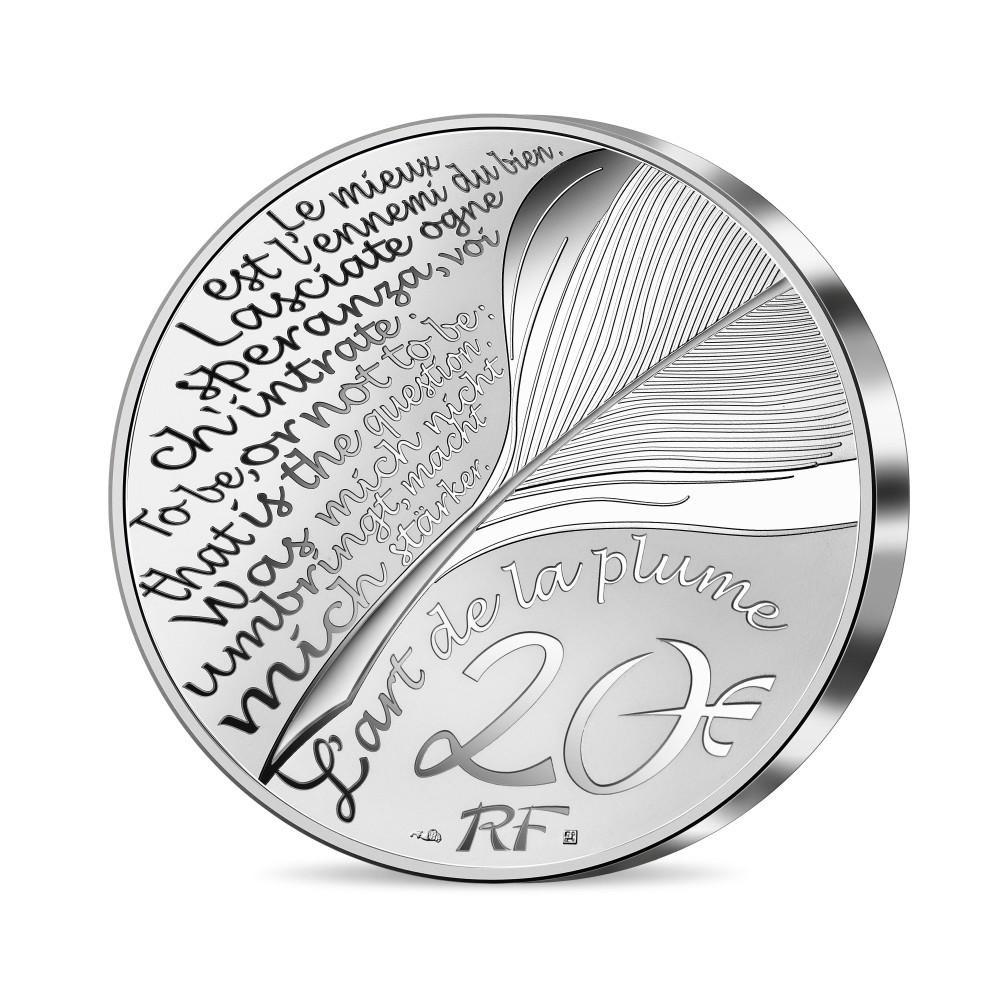 (EUR07.Proof.2021.10041356660000) 20 euro France 2021 Proof silver - Dante Alighieri Reverse (zoom)