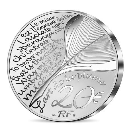 (EUR07.Proof.2021.10041356660000) 20 euro France 2021 argent BE - Dante Alighieri Revers