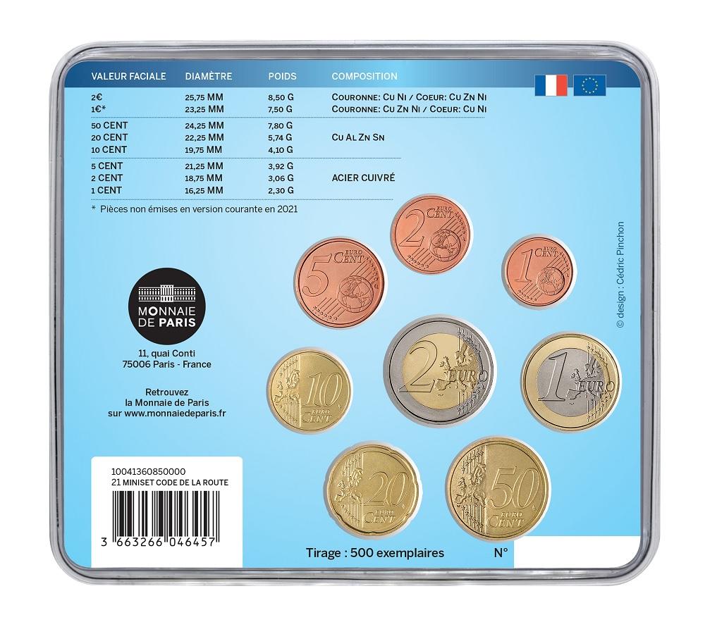 (EUR07.mini-set.2021.10041360850000) BU coin set France 2021 - Highway Code Back (zoom)