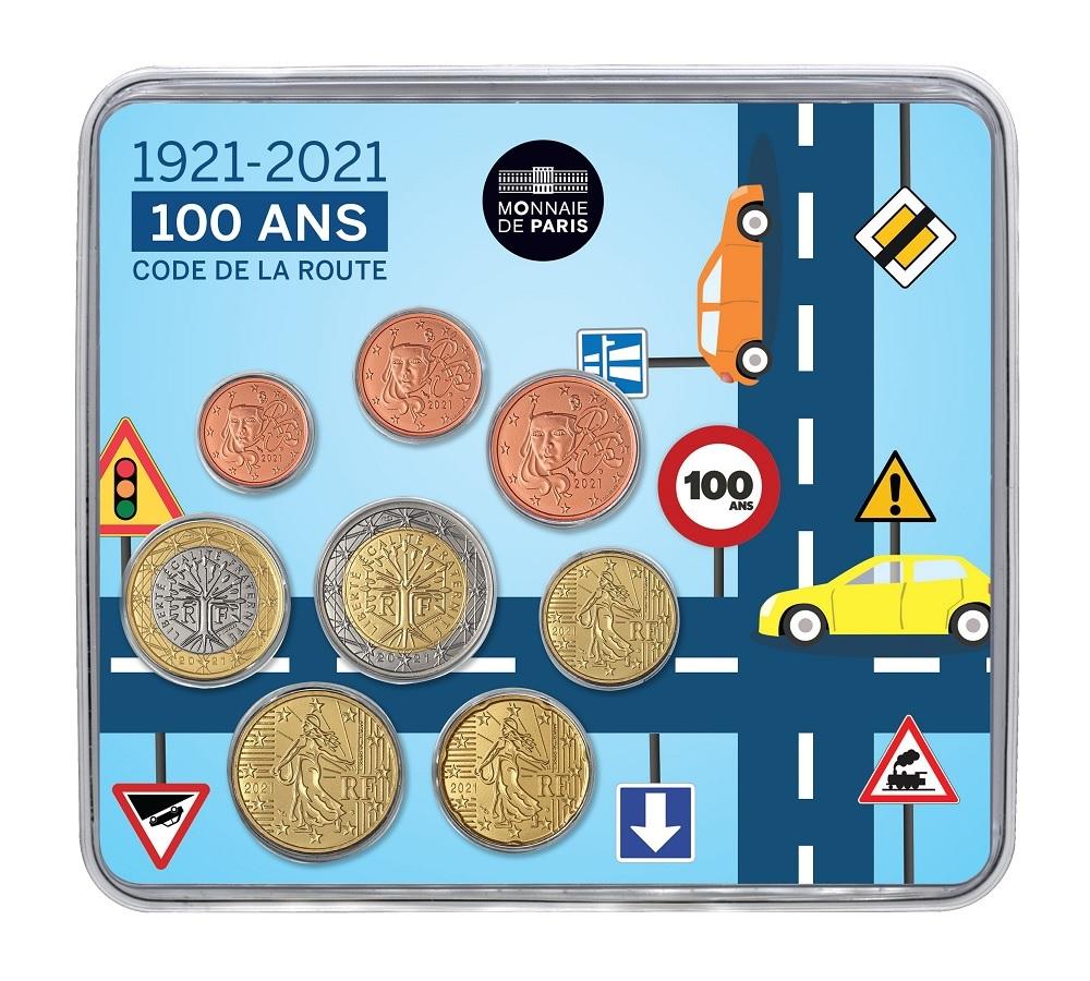 (EUR07.mini-set.2021.10041360850000) BU coin set France 2021 - Highway Code Front (zoom)