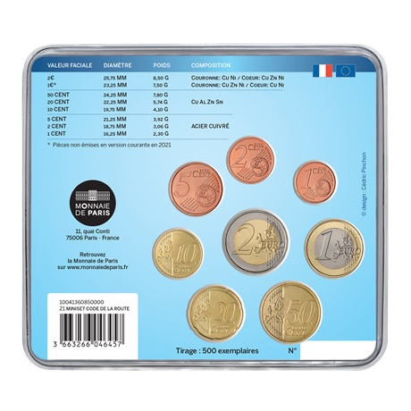 (EUR07.mini-set.2021.10041360850000) Mini-set BU France 2021 - Code de la route Verso