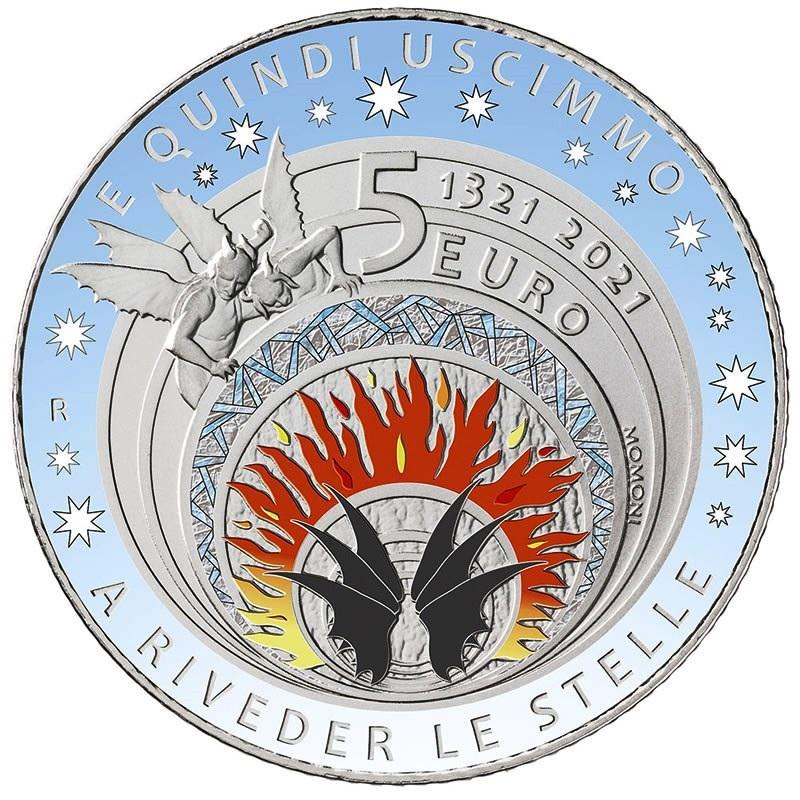 (EUR10.BU.2021.48-2MS10-21F016) 5 euro Italy 2021 BU silver - Dante Alighieri Reverse (zoom)