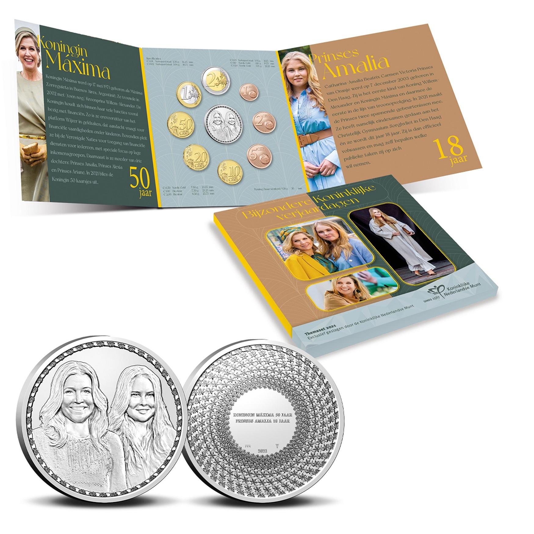 (EUR14.BU.set.2021.0111672) BU coin set Netherlands 2021 - Birthdays of Quenn and Princess (inside) (zoom)