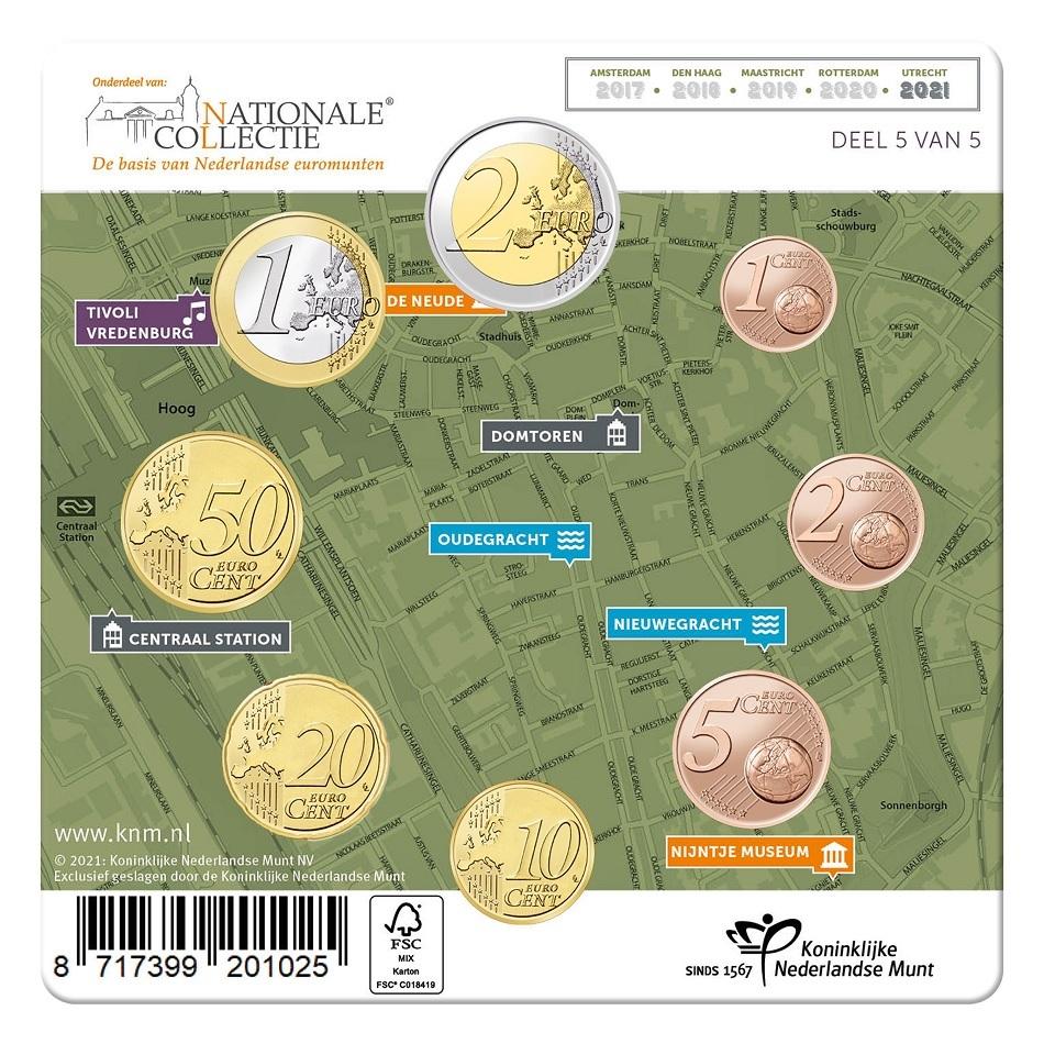 (EUR14.Unc.set.2021.0111533) Uncirculated coin set Netherlands 2021 (Utrecht) Back (zoom)