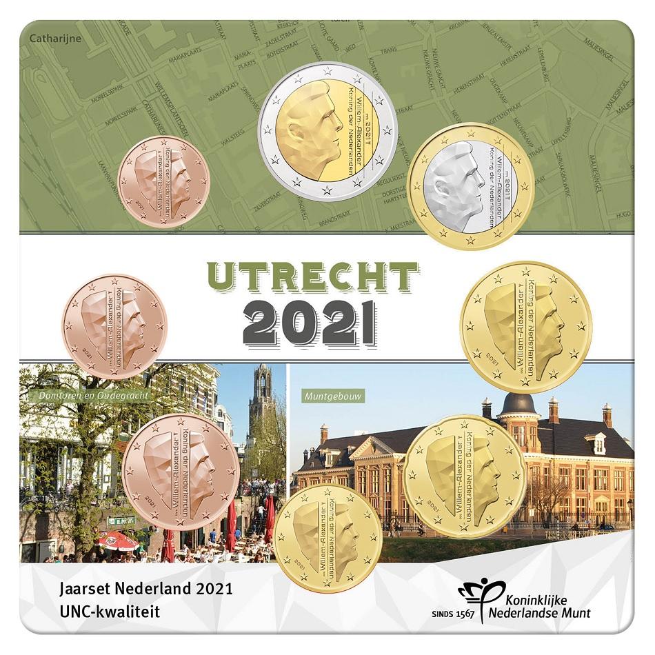 (EUR14.Unc.set.2021.0111533) Uncirculated coin set Netherlands 2021 (Utrecht) Front (zoom)