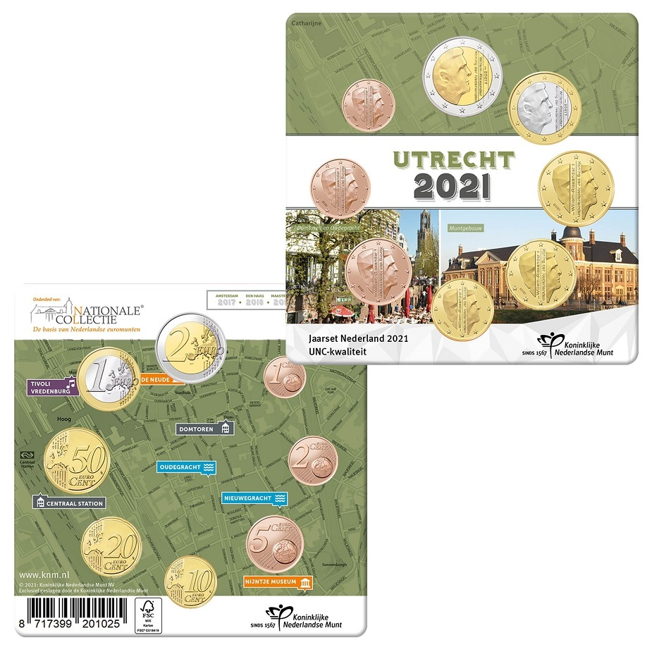 (EUR14.Unc.set.2021.0111533) Uncirculated coin set Netherlands 2021 (Utrecht) (zoom)