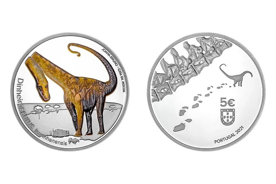 (EUR15.Proof.2021.1024291) 5 € Portugal 2021 Proof Ag - Dinheirosaurus lourinhanensis (zoom)