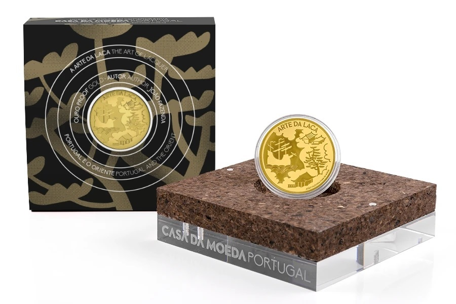 (EUR15.Proof.2021.1024294) 5 euro Portugal 2021 Proof Au - The Art of Lacquer (packaging) (zoom)