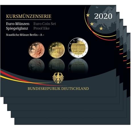 (LOT.EUR03.Proof.sets.2020.A.to.J.90um20s) Coffrets BE Allemagne 2020 (les 5 ateliers A, D, F, G et J)