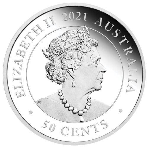 (W017.50.C.2021.21I58AAA) 50 Cents Australia 2021 0.5 oz Proof Ag - Tasmanian Devil Obverse (zoom)