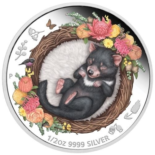 (W017.50.C.2021.21I58AAA) 50 Cents Australia 2021 0.5 oz Proof Ag - Tasmanian Devil Reverse (zoom)