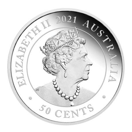 (W017.50.C.2021.21I58AAA) 50 Cents Australie 2021 0,5 oz argent BE - Diable de Tasmanie Avers