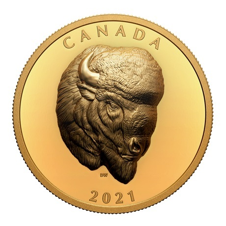 (W037.250.D.2021.201331) 250 Dollars Imposant bison 2021 - Or BE Revers