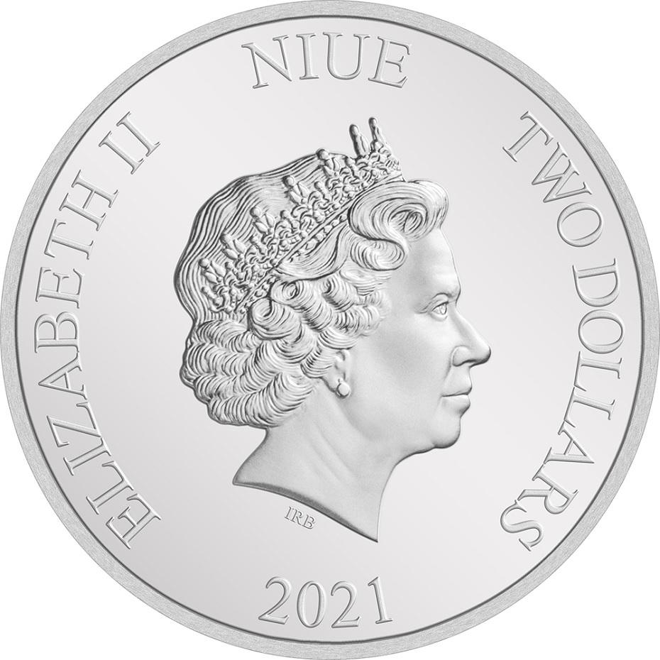 (W160.2.D.2021.30-01132) 2 Dollars Niue 2021 1 oz Proof silver - Monsters, Inc. Obverse (zoom)