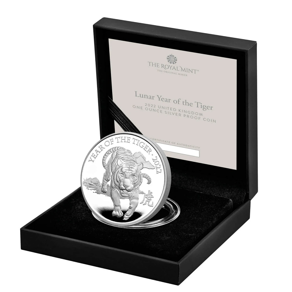 (W185.2.P.2022.UKT22SP) 2 Pounds United Kingdom 2022 1 ounce Proof Ag - Year of Tiger (case) (zoom)