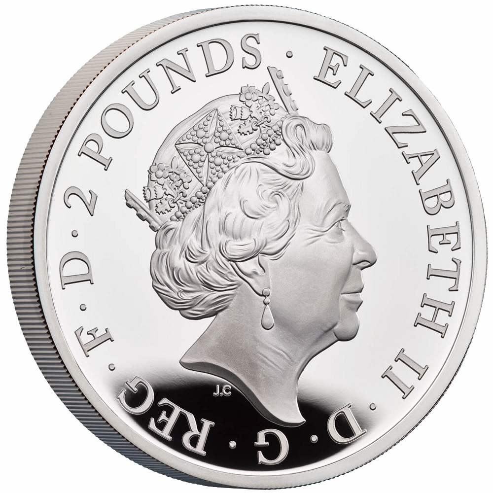 (W185.2.P.2022.UKT22SP) 2 Pounds United Kingdom 2022 1 oz Proof silver - Year of Tiger Obverse (zoom)
