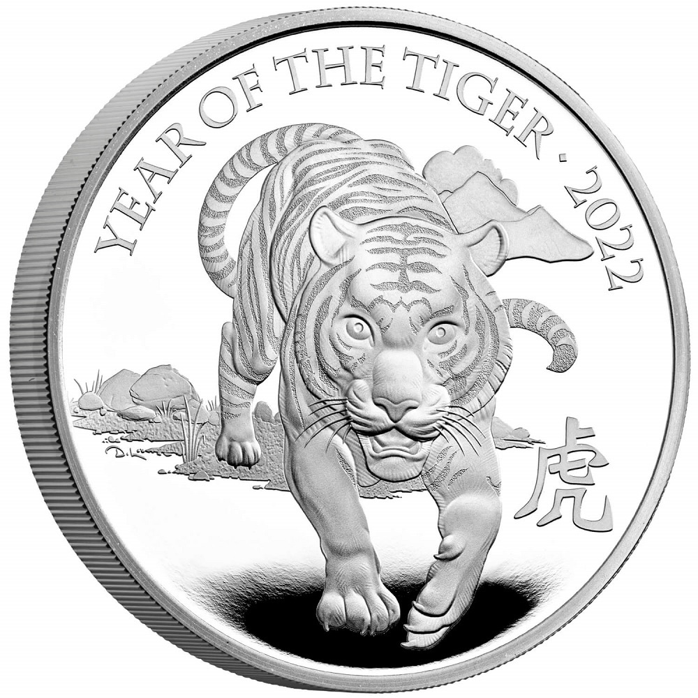 (W185.2.P.2022.UKT22SP) 2 Pounds United Kingdom 2022 1 oz Proof silver - Year of Tiger Reverse (zoom)