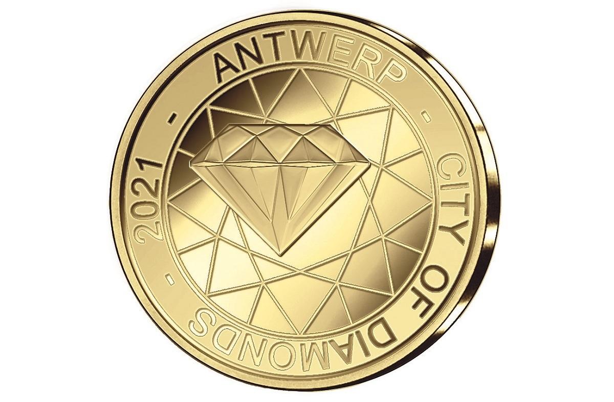 (EUR02.Proof.2021.12.5.E.1) 12.50 euro Belgium 2021 Proof gold - Antwerp, City of Diamonds Obverse (zoom)
