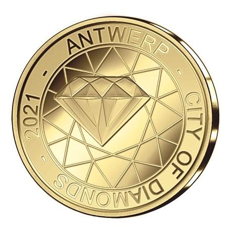 (EUR02.Proof.2021.12.5.E.1) 12,50 euro Belgique 2021 or BE - Anvers, ville diamantaire Avers