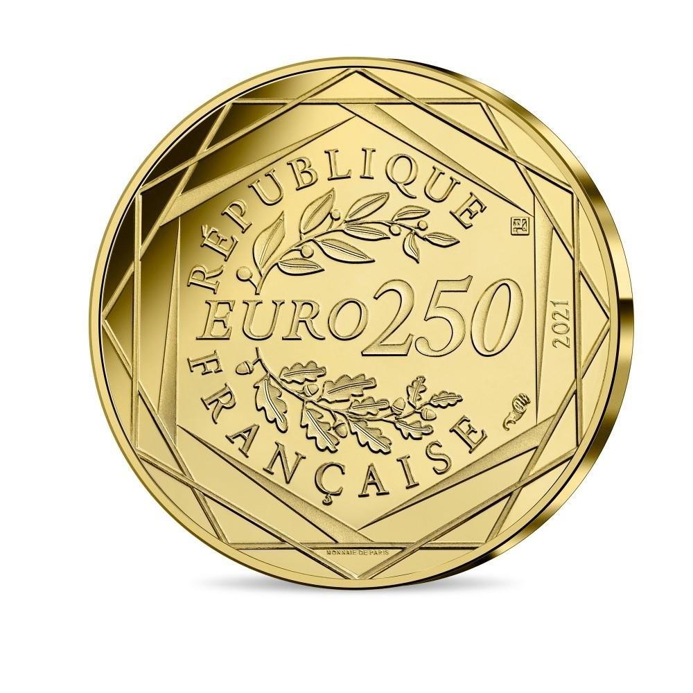 (EUR07.BU.2021.10041356980001) 250 euro France 2021 BU gold - Golden Snitch Reverse (zoom)