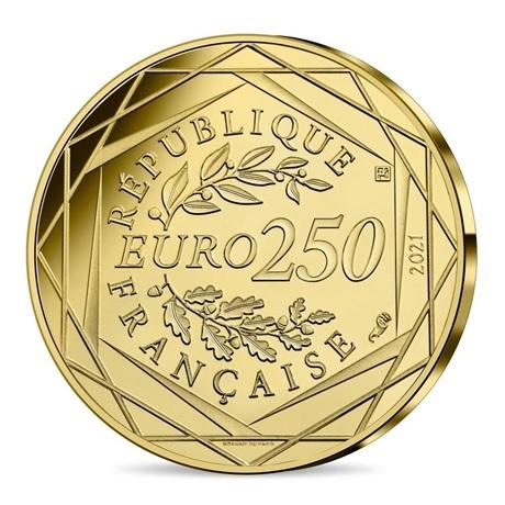 (EUR07.BU.2021.10041356980001) 250 euro France 2021 or BU - Vif Or Revers