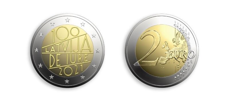 (EUR21.2.E.2021.1) 2 euro Latvia 2021 - The Latvia de iure 100 (zoom)