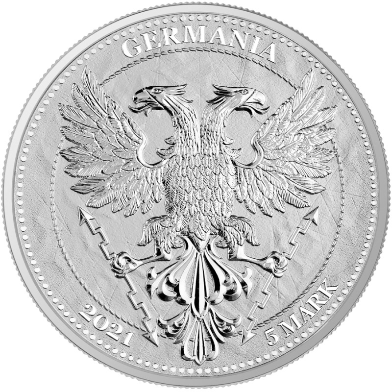 (W078.1.5.M.2021.1.oz.Ag.A5591) 5 Mark Germania 2021 1 oz BU silver - Chesnut Leaf Obverse (zoom)