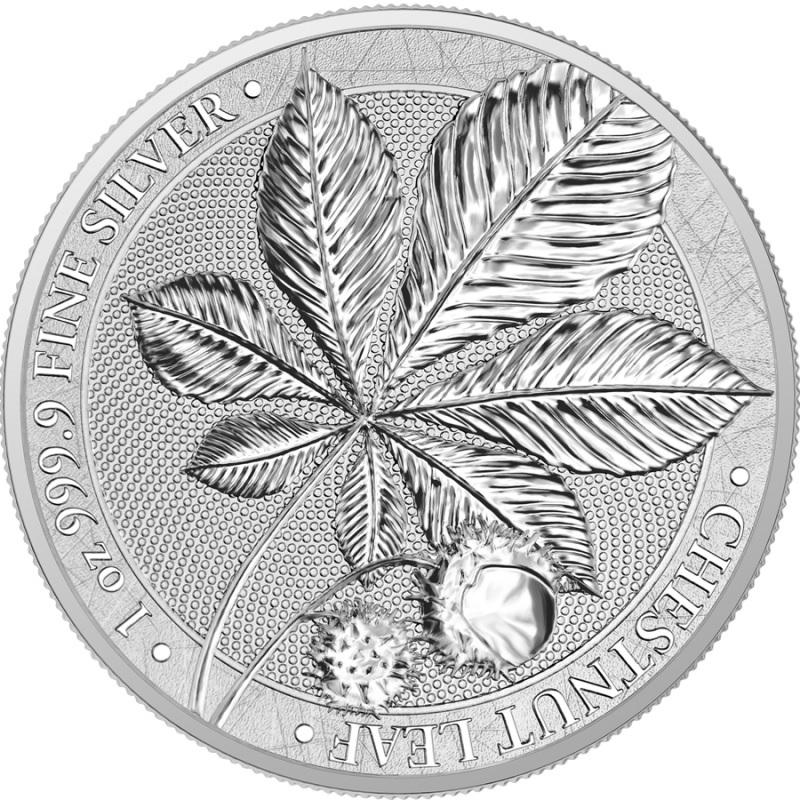 (W078.1.5.M.2021.1.oz.Ag.A5591) 5 Mark Germania 2021 1 oz BU silver - Chesnut Leaf Reverse (zoom)