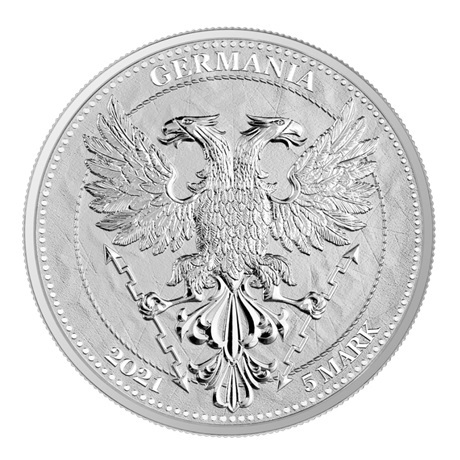 (W078.1.5.M.2021.1.oz.Ag.A5591) 5 Mark Germanie 2021 1 once argent BU - Feuille de châtaignier Avers