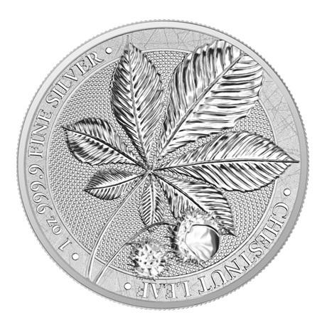 (W078.1.5.M.2021.1.oz.Ag.A5591) 5 Mark Germanie 2021 1 once argent BU - Feuille de châtaignier Revers
