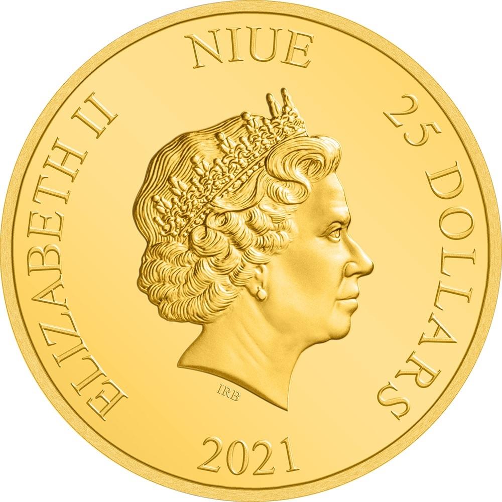 (W160.25.D.2021.30-01145) 25 Dollars Niue 2021 0.25 oz Proof gold - Legolas Obverse (zoom)