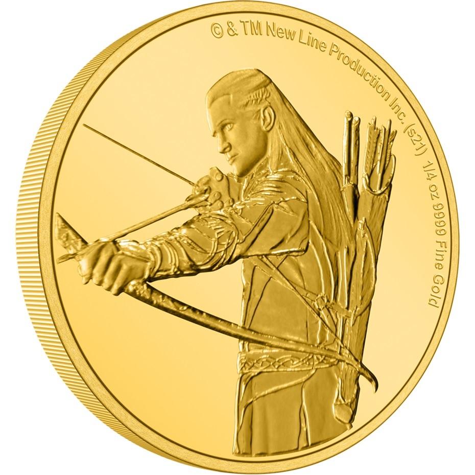 (W160.25.D.2021.30-01145) 25 Dollars Niue 2021 0.25 oz Proof gold - Legolas (edge) (zoom)